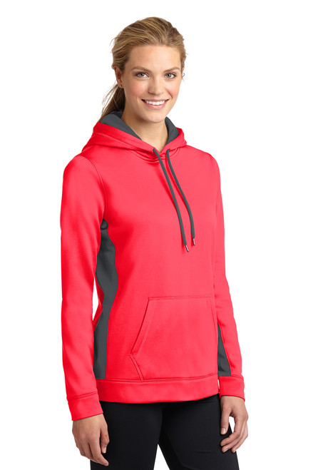 Hot Coral/Dark Smoke Grey  Fleece Colorblock Hooded Pullover