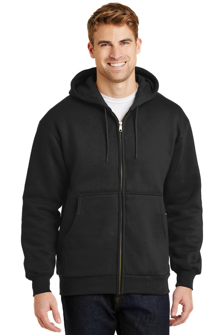Black Heavyweight Full-Zip Hooded Sweatshirt with Thermal Lining