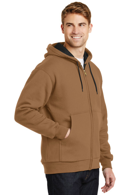 Duck Brown Heavyweight Full-Zip Hooded Sweatshirt with Thermal Lining