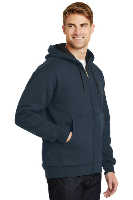 Navy Heavyweight Full-Zip Hooded Sweatshirt with Thermal Lining