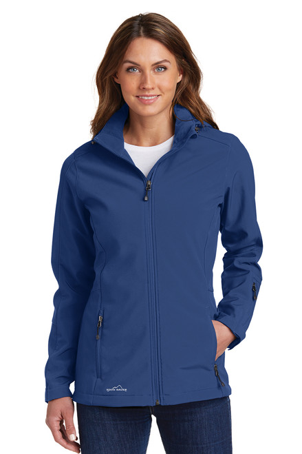 Ladies Admiral Blue Hooded Soft Shell Parka