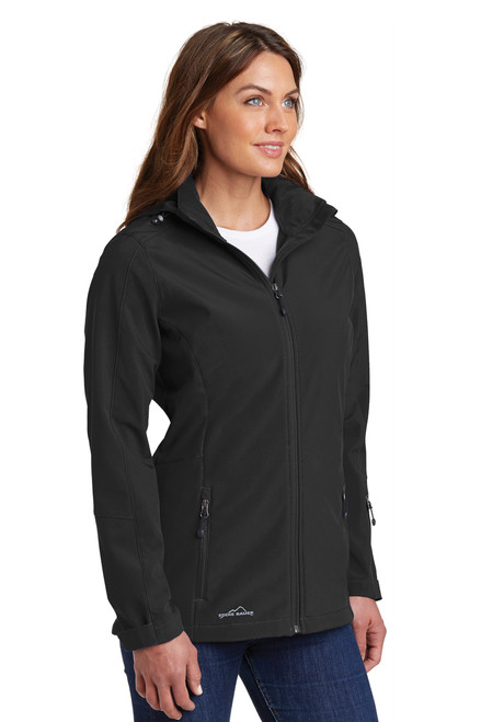 Ladies Black Hooded Soft Shell Parka
