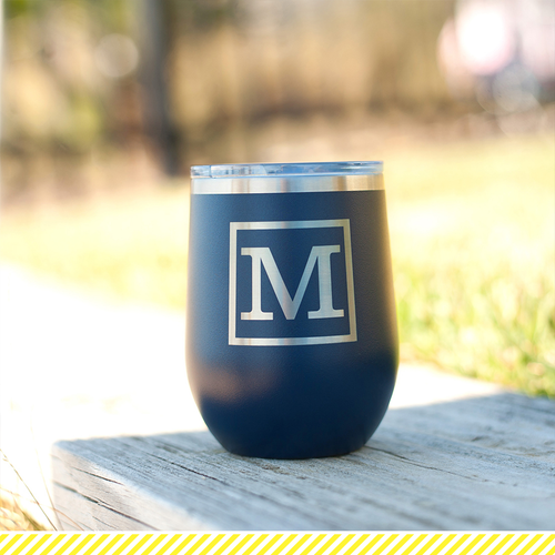Classic Initial 12 Oz Stainless Steel Tumbler~Monogram Included