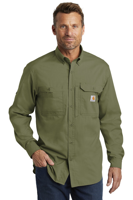 Carhartt Force ® Ridgefield Solid Long Sleeve Shirt ~ Burnt Olive