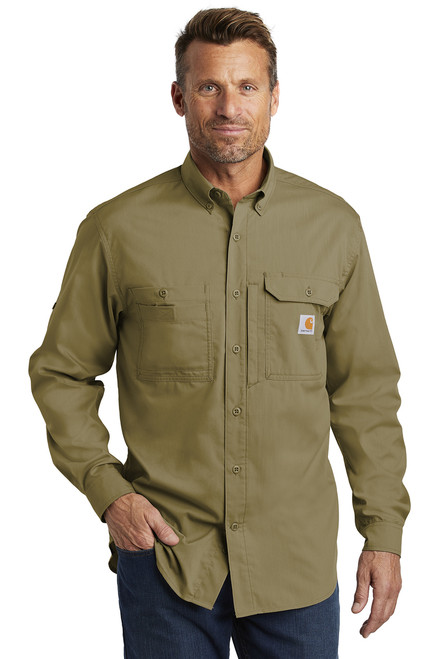 Carhartt Force ® Ridgefield Solid Long Sleeve Shirt ~ Dark Khaki