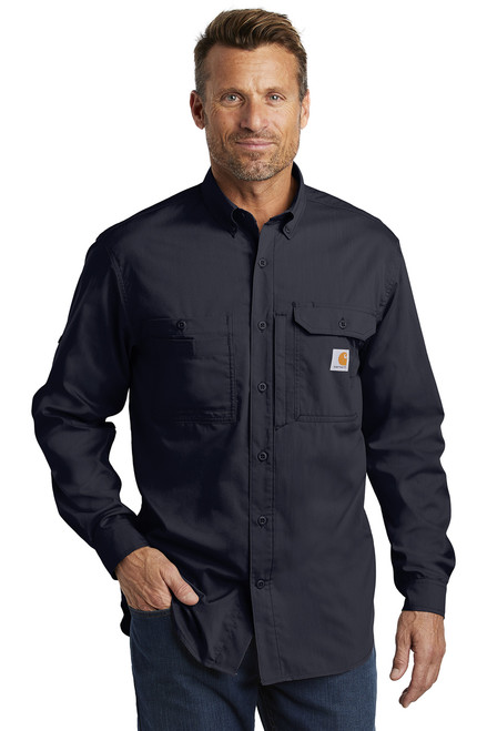 Carhartt Force ® Ridgefield Solid Long Sleeve Shirt ~ Navy