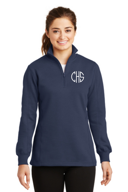 Ladies 1/4-Zip Sweatshirt w/ Monogram ~ True Navy
