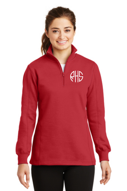 Ladies 1/4-Zip Sweatshirt w/ Monogram ~ True Red