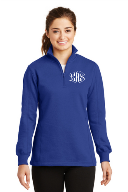 Ladies 1/4-Zip Sweatshirt w/ Monogram ~ True Royal