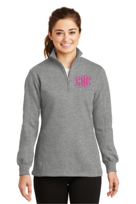 Ladies 1/4-Zip Sweatshirt w/ Monogram~ Vintage Heather