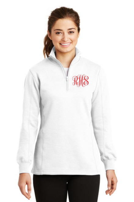 Ladies 1/4-Zip Sweatshirt w/ Monogram ~ White