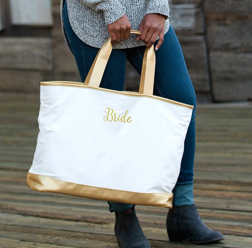 BRIDE Creme Cabana Tote Embroidered In Gold Thread