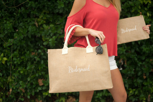 BRIDESMAID Burlap Tote Embroidered In White Thread