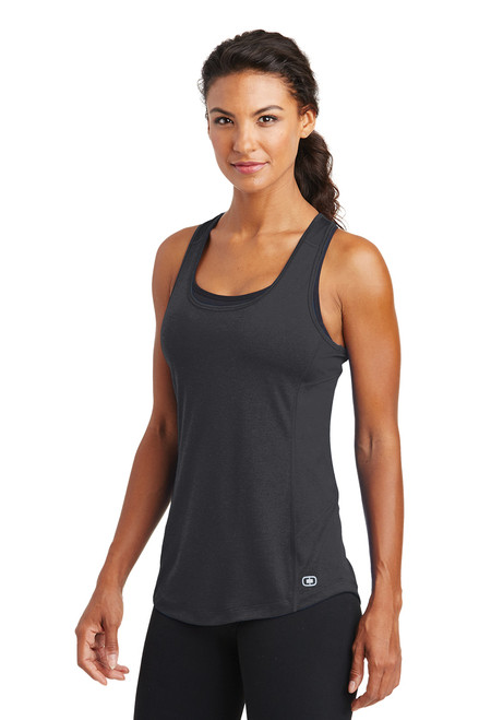 Ladies Racerback Pulse Tank ~ Blacktop
