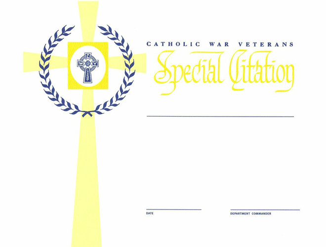 Auxiliary Special Award Citation  (Department President Signature