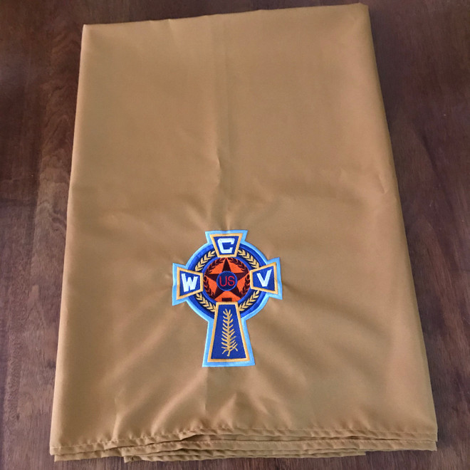 """Altar Cloth for Meeting Ritual (Gold with CWV Logo)  45"""" x 45"""""""
