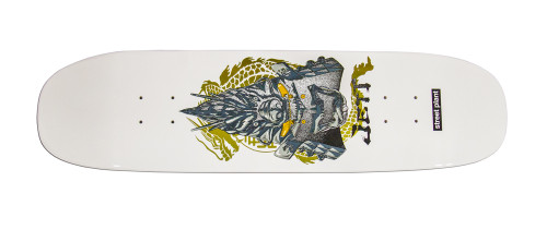 "This is a high quality Street Plant ""Joey Jett"" Pro Model. Joey is a member of the Charm team and we are proud to offer this super skateable and highly collectable piece of art by Street Plant Skateboards  and legendary skateboarder Mike Vallely! It's made of 7 plys of hard rock canadian maple in the United States! Deck comes with Free Black Griptape! This board has a nice mellow concave and a crispy snap to keep it popping! This board is size 8.25"" wide by 32.625"" long it has a 14.25"" wheel base. WARNING: Although there is a color pictured - We CANNOT guarantee color. There may be a substitution of color. We will however NEVER substitute sizes. Thanks for your understanding."