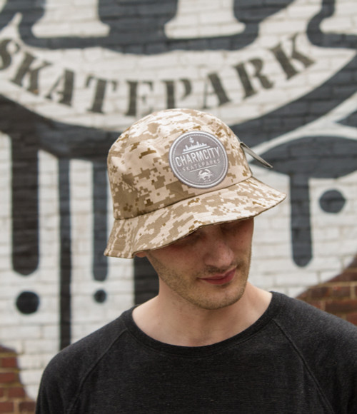 "This is an Official Charmcity ""Digital Camo - Sand Colorway"" Bucket Cap size S/M. Keeps the rain or sun out and keeps you sporty and FRESH!"