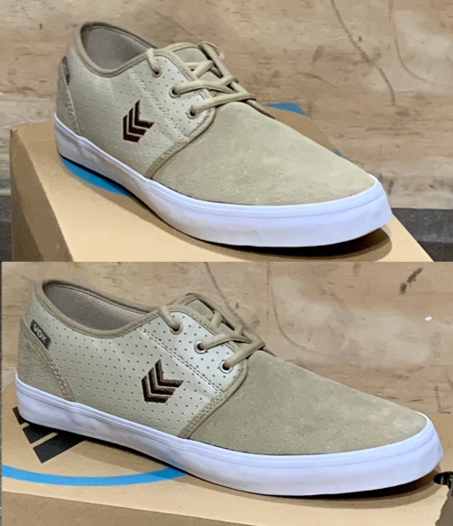 This is a high quality VOX Slacker Team Model in the Tan colorway. It features a thin White CupSole for Maximum board feel, with out the vulc heel bruises. Its in size 12.  Don't miss out on this clearance price. *****There might be slight discoloration from shoes that were on display in the shop!*****