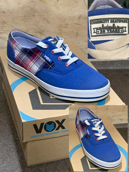 This is a high quality VOX Kruzer Team WOMEN's Model in the BLUE/PLAID colorway. This is a Charmcity Signature model featuring our 20 year anniversary logo on the tongue. It features a White Vulc Sole for Maximum board feel. Its in size 9.  Don't miss out on this clearance price. *****There might be slight discoloration from shoes that were on display in the shop!*****