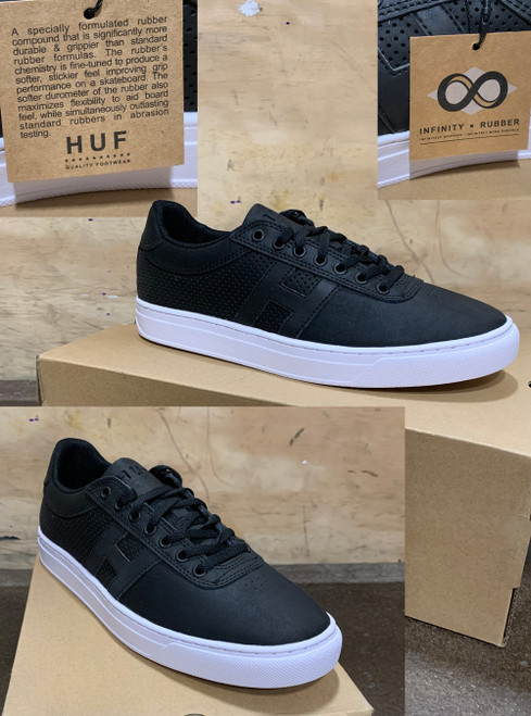 This is a high quality HUF Soto Team Model in the Black colorway. It features a specially formulated rubber compound that is significantly more durable and grippier than standard formulas. The rubber's chemistry is fine tuned to produce a softer, stickier feel improving grip and performance on a skateboard. The softer durometer of the rubber also maximizes flexibility to aid board feel, while simultaneously outlasting standard rubbers in abrasion testing. Its in size 9.5. *****There might be slight discoloration from shoes that were on display in the shop!*****