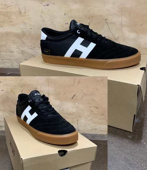 This is a high quality HUF Galaxy Team Model in the Black/Gum colorway. It features a Gum Sole compound that is significantly more durable and grippier than standard formulas. The rubber's chemistry is fine tuned to produce a softer, stickier feel improving grip and performance on a skateboard. The softer durometer of the rubber also maximizes flexibility to aid board feel, while simultaneously outlasting standard rubbers in abrasion testing. Its in size 8.5. *****There might be slight discoloration from shoes that were on display in the shop!*****