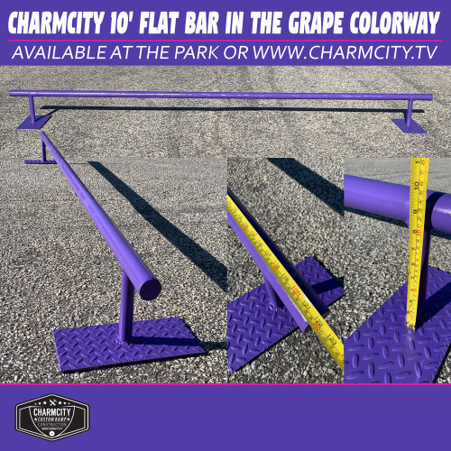"This is a Charmcity Builds Flat Bar in the Grape Colorway. It features a round rail that is 10' Long and 10"" High. This rail is fun for days. Super Long nice and low for comfortable slides and grinds!  For better shipping rates or delivery call the park at 1-410-327-7909."