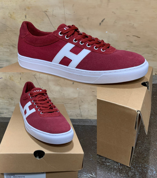 This is a high quality HUF SOTO Team Model in the Red/White colorway. It features a White Gum Sole compound that is significantly more durable and grippier than standard formulas. The rubber's chemistry is fine tuned to produce a softer, stickier feel improving grip and performance on a skateboard. The softer durometer of the rubber also maximizes flexibility to aid board feel, while simultaneously outlasting standard rubbers in abrasion testing. Its in size 9.5. *****There might be slight discoloration from shoes that were on display in the shop!*****