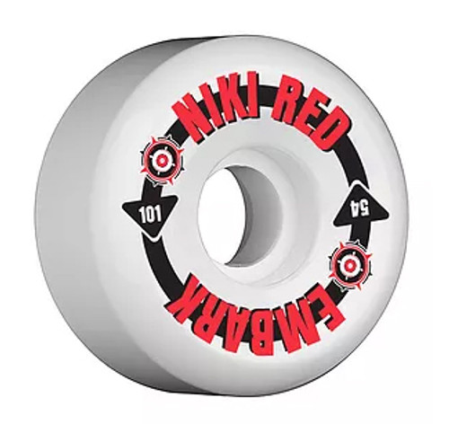 This an Official Niki Red and Embark Skateshop from Frederick Maryland Collabo model wheel. This wheel is 54MM in size and 101A hardness. Niki Red manufactures their wheel at world famous Creative Urethane on the east coast. Creative means Quality!!!!!