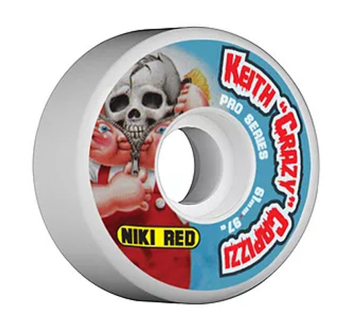 "This an Official Niki Red  ""Keith ""Crazy"" Capizzi Pro Model Wheel in size 61MM 97A Wheel. This wheel is a wider 61MM and 97A hardness. A 97A durometer will give it a nice soft comfortable feel that can eat up asphault and the streets in general. This one will feel great in the parks as well. It wears at an even slow pace. Niki Red manufactures their wheel at world famous Creative Urethane on the east coast. Creative means Quality!!!!!"