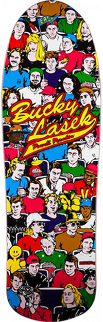 An east coast skateboarding wonder at a young age—there's a story out there that Bucky started skateboarding after his bicycle was stolen, sure, but really there was a shop owner in Baltimore named Andy who liked Bucky, flowed him product, and generally made skateboarding affordable for him. He entered amateur contests and did well. His profile rose to a point where in 1989 Tony Hawk sent him a game changing invite to visit him in SoCal.  The 1990 release of what has become known as Bucky's STADIUM model was one of the graphics designed entirely by Sean Cliver during his three years at Powell Peralta. The back-story behind the unusual baseball-themed graphic has little to do with Bucky's interest in, or his ability to actually play baseball.  Not only was Bucky known for being a nice, likable guy, Sean also knew he was from Baltimore. At the time the Baltimore Orioles had gone through a resurgence because their new stadium (Camden Yards) was being constructed while Cal Ripken, Jr., was surging in his effort to play more baseball games consecutively (2632 eventually) than any human thought possible. Sean saw this as an opportunity for Bucky Lasek, the nice guy that people liked, to have a board graphic with lots of those people he liked on his board. BOOM!   -Nostalgic notes from the eidetic memory of Jim Fitzpatrick  Powell-Peralta™ Re-Issue Construction  Powell-Peralta re-issue decks are close reproductions of their 1980's counterparts, featuring the original Pro graphics and shape, top graphic logo and spoon nose concave. They are manufactured by our partners in Mexico or in our Ventura skateboard factory, which is still directed by a few of the same craftsmen that made them originally.