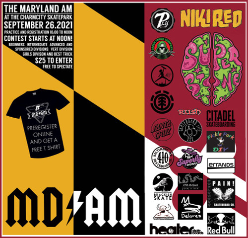 This Product gives you admission to the Maryland Am contest hosted by the Charmcity Skatepark. The MDAM is on Sunday September 26.2021. Practice and Registration are from 10 to Noon! Contest starts at noon. Please send an email to Charmcityinc@msn.com with your order# and let us know what Division you would like to enter. Thanks for supporting East Coast Skateboarding!