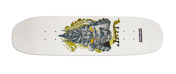 """This is a high quality Street Plant """"Joey Jett"""" Pro Model. Joey is a member of the Charm team and we are proud to offer this super skateable and highly collectable piece of art by Street Plant Skateboards  and legendary skateboarder Mike Vallely! It's made of 7 plys of hard rock canadian maple in the United States! Deck comes with Free Black Griptape! This board has a nice mellow concave and a crispy snap to keep it popping! This board is size 8.25"""" wide by 32.625"""" long it has a 14.25"""" wheel base. WARNING: Although there is a color pictured - We CANNOT guarantee color. There may be a substitution of color. We will however NEVER substitute sizes. Thanks for your understanding."""