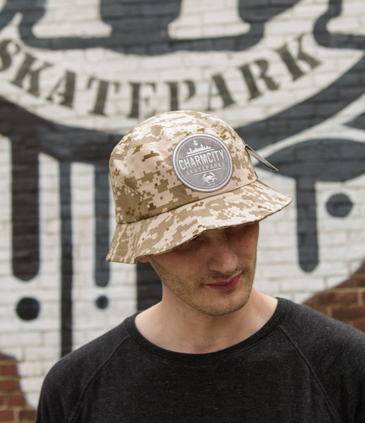 """This is an Official Charmcity """"Digital Camo - Sand Colorway"""" Bucket Cap size L/XL. Keeps the rain or sun out and keeps you sporty and FRESH!"""