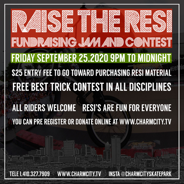 Ticket granting admission to the RAISE THE RESI at the Charmcity Skatepark Saturday September 25.2020 starting at 9pm. Profits from this event go towards the construction of 2 new resi ramps at the Charmcity Skatepark. Please print your receipt and bring it with you to the event!