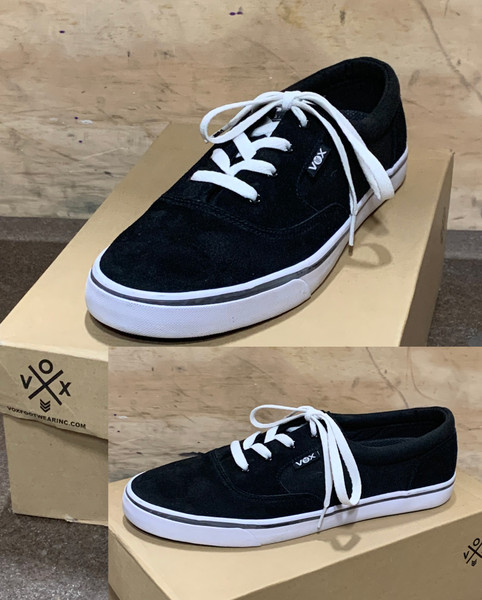 This is a high quality VOX Kruzer Team Model in the BLACK/WHITE colorway. This is a Charmcity Signature model featuring our 20 year anniversary logo on the tongue. It features a White Vulc Sole for Maximum board feel. Its in size 12.  Don't miss out on this clearance price. *****There might be slight discoloration from shoes that were on display in the shop!*****