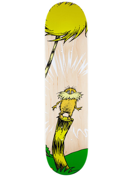 Almost X Dr. Seuss The Lorax  Specifically designed for durability and performance. The Resin deck is lighter and keeps it's pop longer than normal water based decks. 7-ply 100% Hardrock Maple with Epoxy Resin Glue. Single Deck Press (Same shape and concave every time).