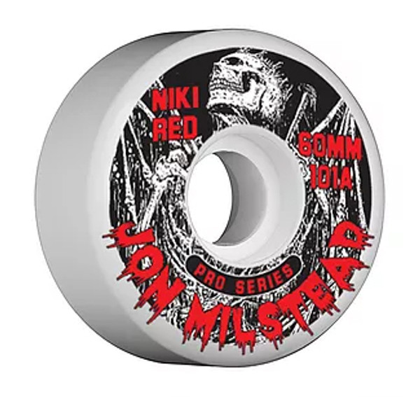 "This an Official Niki Red ""John Milstead"" Pro Model Wheel. This wheel is 60MM in size and 101A hardness. This wheel is White and 101A. Its also a little wider and wears at an even slow pace. Niki Red manufactures their wheel at world famous Creative Urethane on the east coast. Creative means Quality!!!!!"