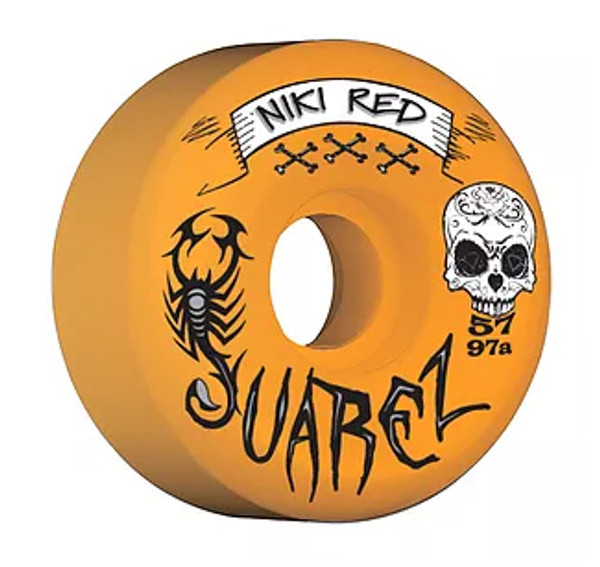 """This an Official Niki Red  """"Juarez"""" Team Model in Orange Wheel 57MM 97A Wheel. This wheel is 57MM in size and 97A hardness. This wheel is Orange and 97A. Its color and 97A durometer give it a nice soft comfortable feel that can eat up asphault and the streets in general. This one will feel great in the parks as well. It wears at an even slow pace. Niki Red manufactures their wheel at world famous Creative Urethane on the east coast. Creative means Quality!!!!!"""