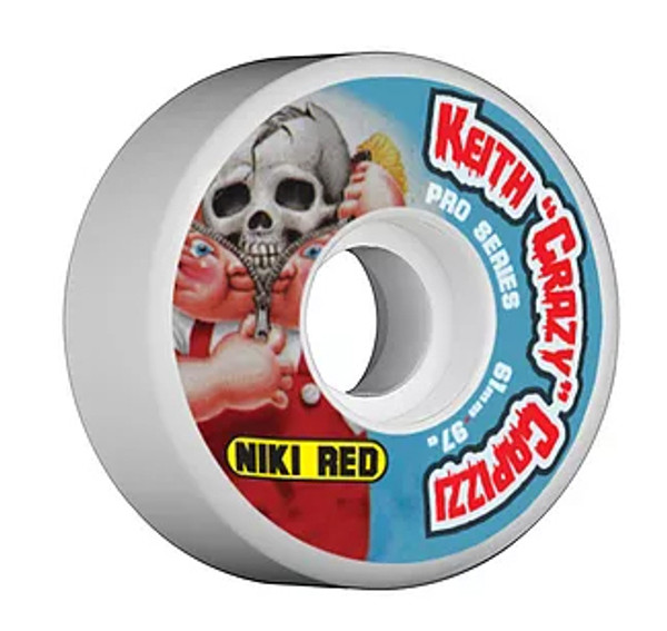 """This an Official Niki Red  """"Keith """"Crazy"""" Capizzi Pro Model Wheel in size 61MM 97A Wheel. This wheel is a wider 61MM and 97A hardness. A 97A durometer will give it a nice soft comfortable feel that can eat up asphault and the streets in general. This one will feel great in the parks as well. It wears at an even slow pace. Niki Red manufactures their wheel at world famous Creative Urethane on the east coast. Creative means Quality!!!!!"""