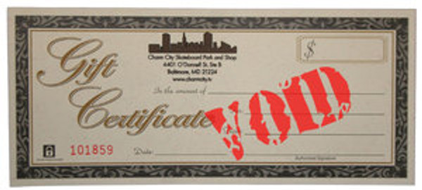 Charm City Gift Certificate $100.00