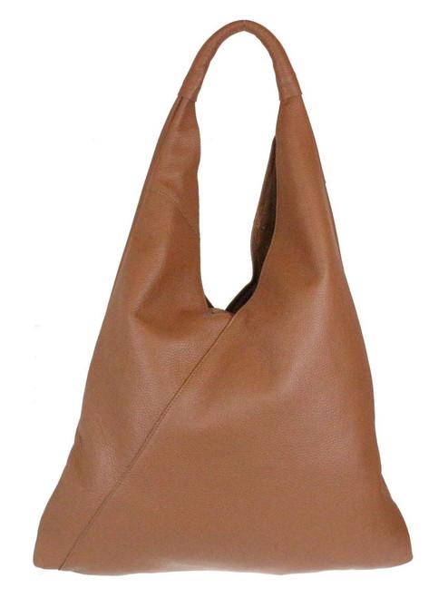 V Shape Genuine Top Handle Bag