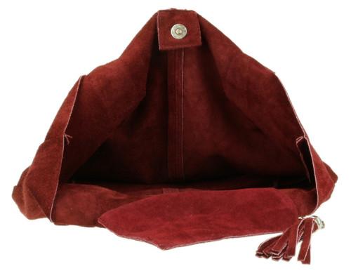 Open Top Real Suede Shoulder Bag