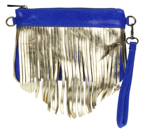 Fringe Metallic Clutch Bag