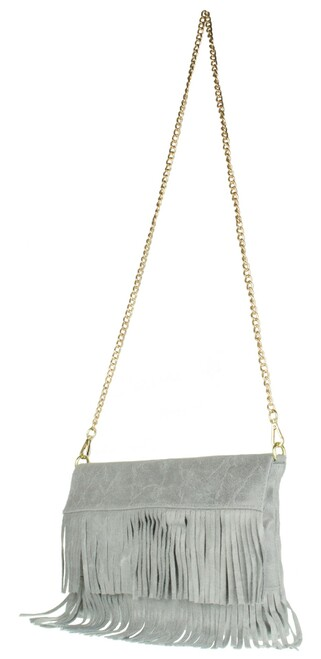 Fringe Italian Suede Clutch Bag