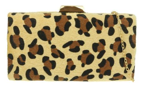 Leopard Hard Case Clutch Bag