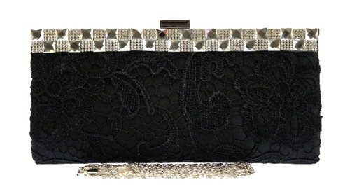 Lace Diamante Clutch Bag