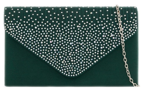 Pleated Diamante Satin Clutch Bag
