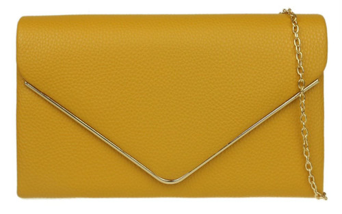 Metallic Frame Leather Clutch Bag