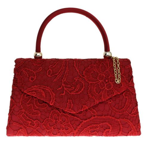 Lace Top Handle Clutch Bag